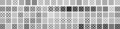Naklejka 100 Universal different geometric seamless patterns. Endless vector texture can be used for wrapping wallpaper, pattern fills, web background,surface textures. Set of monochrome ornaments
