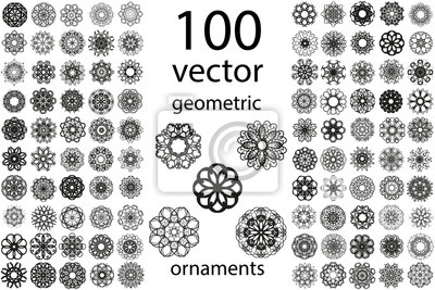 Naklejka 100 Zestaw abstrakcyjne geometryczne Mandala okrągły ornament