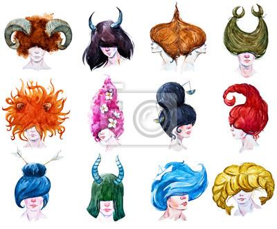 Naklejka 12 horoskopy raster