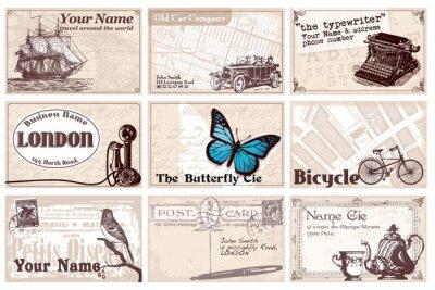 Naklejka 12 karty retro wizyty