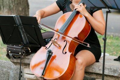 Naklejka 15 LIPCA 2018, TARRAGONA, HISZPANIA: Muzyk uliczny grający na skrzypcach