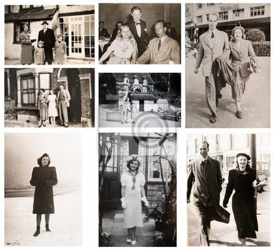 Naklejka 1940-1950s. English people travelling and enjoying the life. 1950s Fashion. London.  Set of vintage photos.