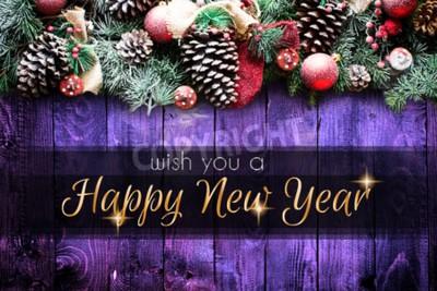 Naklejka 2018 Szczęśliwego Nowego Roku i Wesołych Świąt Ramki ze śniegu i prawdziwego drewna sosny zielonej