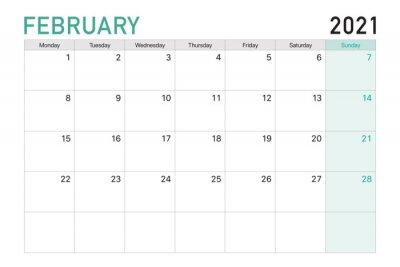 Naklejka 2021 February illustration vector desk calendar weeks start on Mondayin light green and white theme