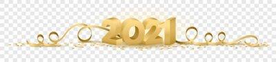 Naklejka 2021 happy new year vector symbol transparent background isolated