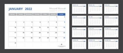 Naklejka 2022 calendar planner set for template corporate design week start on Monday.