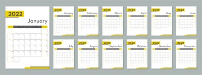 Naklejka 2022 calendar template. Corporate and busines planner diary. Week starts on Sunday. Set of 12 months 2022 pages.