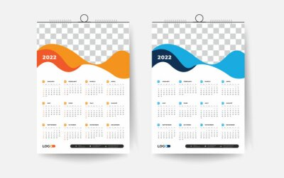 Naklejka 2022 One page wall calendar design template, modern 12 months one-page calendar