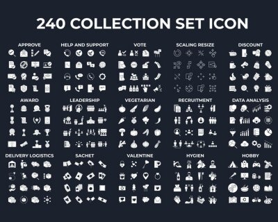 Naklejka 240 modern thin line icons. High quality pictograms. Linear icons set of hygiene, leadership, Recruitment, etc symbol template for graphic and web design collection logo vector illustration