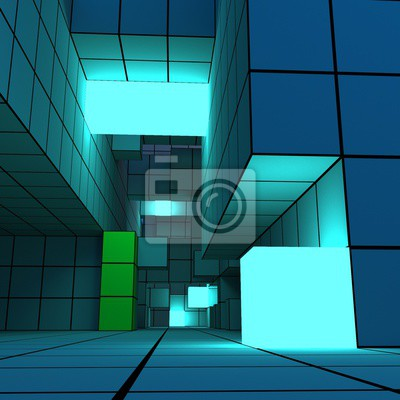 Naklejka 3D illustration of a complex geometric structure with luminous cubes. Creative geometrical concept. Abstract voxel background in a style of cyberpunk.
