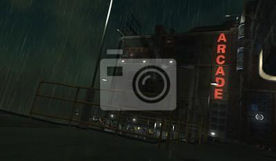 Naklejka 3D illustration of a futuristic cityscape in cyberpunk style. Gloomy urban landscape. Rainy night scene.
