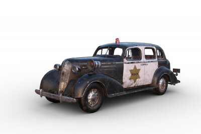 Naklejka 3D illustration of a rusty dirty old vintage police car isolated on white.