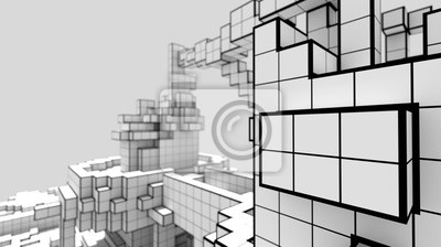 Naklejka 3D illustration of a voxel abstract construction similar to a futuristic city. Creative geometric concept. Pixel art wallpaper. Group of a futuristic buildings.