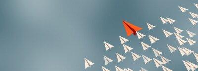 Naklejka 3D illustration of leadership success business concept rocket paper fly over color background lead rocket stand out of other paper rocket follower