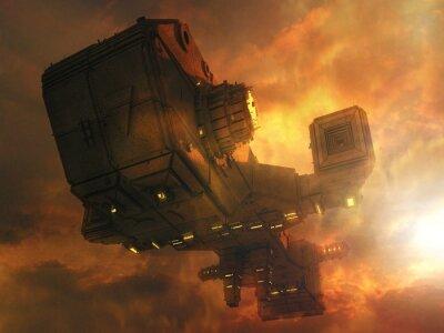 Naklejka 3d koncepcja statek UFO