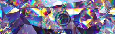 Naklejka 3d odpłacają się, abstrakcjonistyczny krystaliczny tło, opalizująca tekstura, makro- panorama, faceted klejnot, szeroka panoramiczna poligonalna tapeta