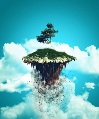 Naklejka 3D pływających wyspie wybucha w niebo