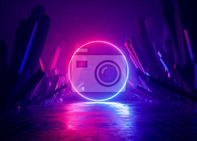 Naklejka 3d render, abstract background, cosmic landscape, round portal, pink blue neon light, virtual reality, energy source, glowing round frame, dark space, ultraviolet spectrum, laser ring, rocks, ground