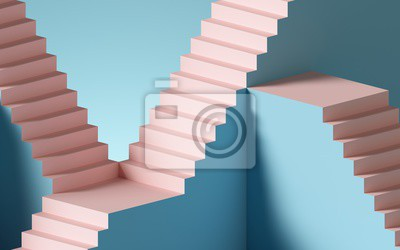Naklejka 3d render, abstract background with steps and staircase, in pink and blue pastel colors. Architectural design elements.