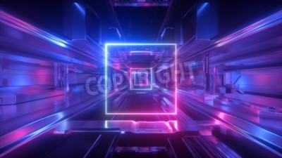 Naklejka 3d render, abstract futuristic geometric background, glowing square shape, neon light, tunnel, corridor, space station interior, geometric structure, cyber safety, virtual reality, ultraviolet