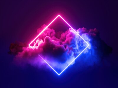 Naklejka 3d render, abstract minimal background, pink blue neon light square frame with copy space, illuminated stormy clouds, glowing geometric shape.
