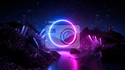 Naklejka 3d render, abstract neon background, mystical cosmic landscape, pink blue glowing ring over terrain, round frame, virtual reality, dark space, ultraviolet light, crystal mountains, rocks, ground