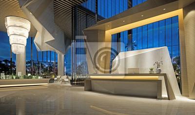 Naklejka 3d render of modern hotel reception lobby