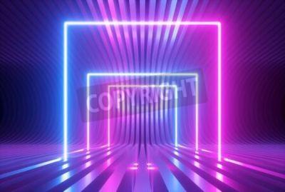 Naklejka 3d render, pink blue violet neon abstract background with glowing square shapes, ultraviolet light, laser show performance stage, floor reflection, blank rectangular frame gates