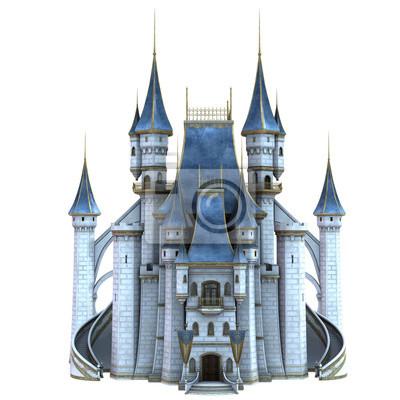 Naklejka 3D Rendered Fairy Tale Castle on White Background - 3D Illustration