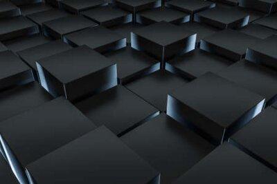 Naklejka 3d rendering, dark background, cube bricks with light effect. Computer digital background.