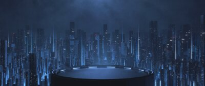 Naklejka 3D Rendering of building deck in mega cyberpunk style city surrounding with many skyscraper towers. For business technology product background, wallpaper