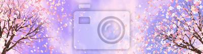 Naklejka 3d renderingu obrazek czereśniowy okwitnięcie przeciw purpurowemu niebu.