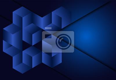 3d sześcianu geometryczny Błękitny marynarki wojennej tło