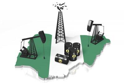 Naklejka 3D szybów naftowych w koncepcji Nigerii