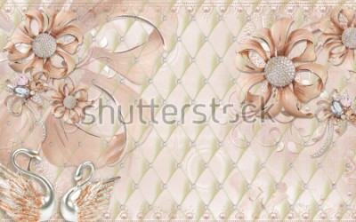 Naklejka 3D wallpaper design with bricks and stones with florals for photomural