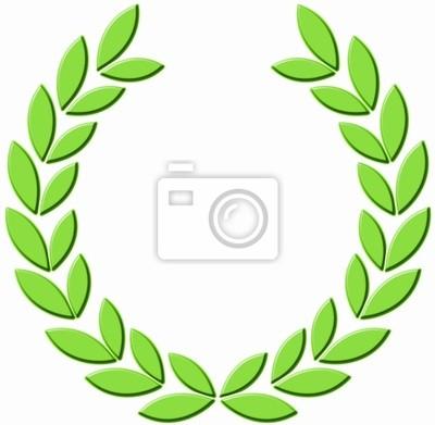 3D zielony wieniec laurowy