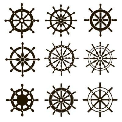 Naklejka 9 zdjęć z koła statek kierujących