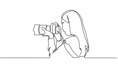 Naklejka A girl taking photo with her camera. One line continuous. Vector illustration. Photographer with a camera takes pictures outdoors. Continuous line drawing of a black outline of a journalist.
