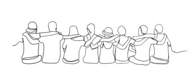 Naklejka A group of men and women sitting together have their friendship one line drawing. Single continuous line drawing about group of men and woman from multi ethnic standing together vector illustration.