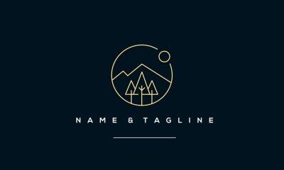 Naklejka A line art icon logo of a Mountain, tree and sun