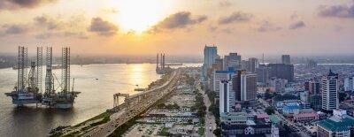 Naklejka A panorama shot of cityscape of Lagos Island, Nigeria at sunset