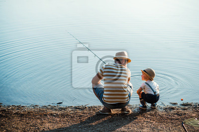 Naklejka A rear view of mature father with a small toddler son outdoors fishing by a lake.