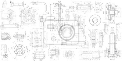 Naklejka A set of engineering mechanical parts .Vector engineering illustration.Technical drawing background .