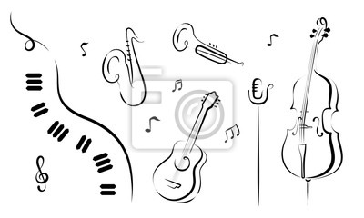 Naklejka A set of hand drawn musical instruments. Piano, saxophone, trumpet, guitar, mic cello. For posters, flyers, banners. Vector.