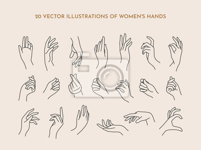 Naklejka A set of icons women's hands in a trendy minimal linear style. Vector Illustration of female hands with various gestures