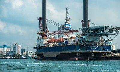 Naklejka A ship berthed on the coast of Lagos Lagoon, Apapa