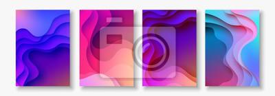 Naklejka A4 streszczenie kolor papieru 3d sztuki ilustracji. Kontrast kolorów. Wektor wzór układ dla banerów, prezentacji, ulotki