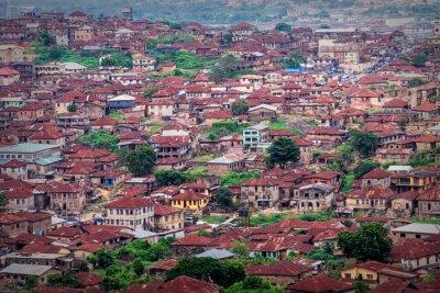 Naklejka Abeokuta town view as seem rom the top of Olumo Rock