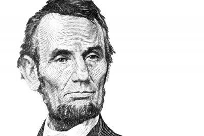 Naklejka Abraham Lincoln $5 looking sad