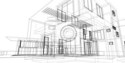Naklejka Abstract architectral drawing sketch,Illustration